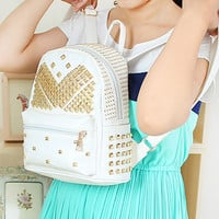 White Preppy Style Studded Backpack