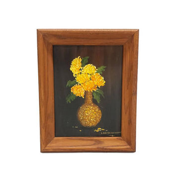 Vintage Oil Painting Yellow Marigold Floral Bouquet Framed Still Life Art Acrylic Amature Signed Retro Wall Decor Black Gold Brown