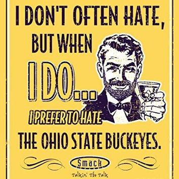 NCAA MICHIGAN WOLVERINES FANS I PREFER TO HATE (ANTI-BUCKEYES) MAIZE METAL FAN CAVE SIGN