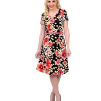 1940s Style Black & Pink Floral Belted Scuba Flare Dress