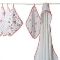 Aden and Anais Hooded Towel Washcloth Set-Bathing Beauty