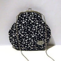White Flowers On Black Frame Purse With Chain | Luulla