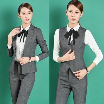 Formal Professional Business Work Suits 4 pieces With Jackets + Pants + Vest + Blouses Female Trousers Sets Blazers Uniforms