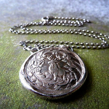 Monarch of the Glen. Deer Wax Seal Necklace. Wax Seal Fine Silver Jewelry. Large Pendant. Stag.