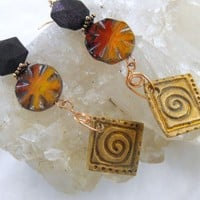 Sunset Colors Ceramic and Bronze Earrings