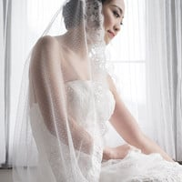 AUGE - Vintage soft tulle veil with delicate French lace
