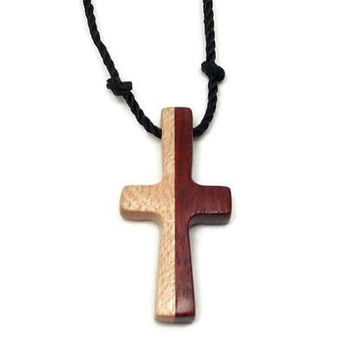 Men's Cross Necklace, Cross Pendant Necklace, Mens Jewelry Cross, Religious Pendant, Wood Cross Pendant, Maple & Bloodwood, Gifts Under 20