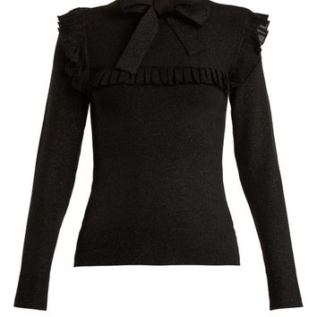 Ruffle-trimmed tie-neck stretch-knit sweater | JoosTricot | MATCHESFASHION.COM UK