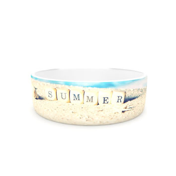 "Monika Strigel ""Summer at the Beach"" Blue Coastal Pet Bowl"