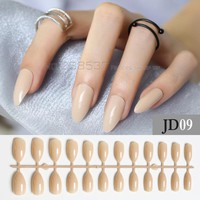 Khaki full cover stiletto nails Tips Light Brown Fake Artificial nails 24pcs mountain peak office Pure colour False nails JD09