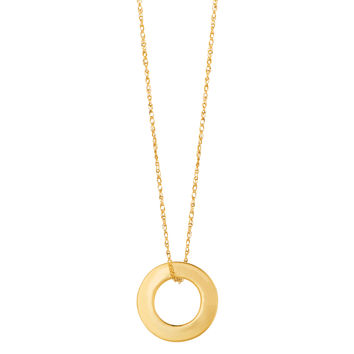 14K Yellow Gold Circle Shaped Pendant On 18 Inch Necklace