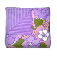 Purple Flannel and Minky Cuddle Blanket, Receiving Blanket, Reversible Blanket, Cuddle Blanket, Pink and Purple Floral