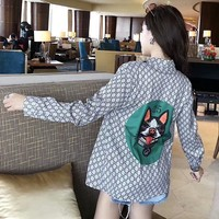 """Gucci"" Women Fashion Dog Head Logo Print Long Sleeve Lapel Shirt Cardigan Tops"
