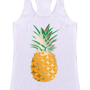 Gold Pineapple Racerback Tank Top (White)