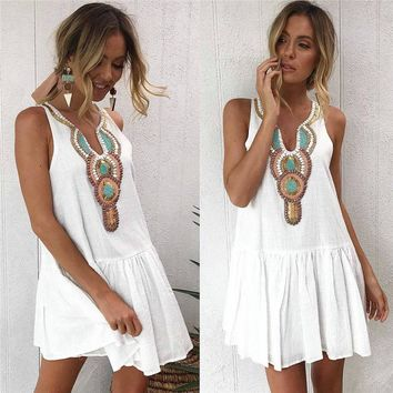 Summer Fashion Casual Women Ladies Dress Sundress Pattern Print White Ruffles Sleeveless V-Neck A-Line Mini Dress Size S/M/L/XL