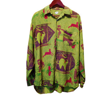 Vintage Paul Smith Green Button Shirt 90s 80s Grunge Hipster