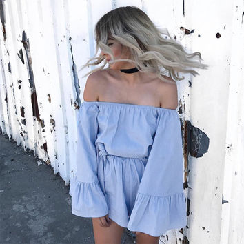One Shoulder Ruffle Leaf Jumpsuit