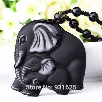 Drop Ship Chinese Handwork Natural Black Obsidian Carved Mother Baby Cute Elephant Amulet Lucky Pendant Necklace Fashion Jewelry