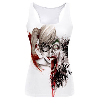 New Arrival Summer Casual Women Vest Comfortable Fitness Female Tank Tops Harley Quinn Joker Pattern 3D Women Camisole Euro Size