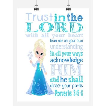 Frozen Christian Princess Elsa Nursery Decor Print - Trust in the Lord with all your heart - Proverbs 3:5-6