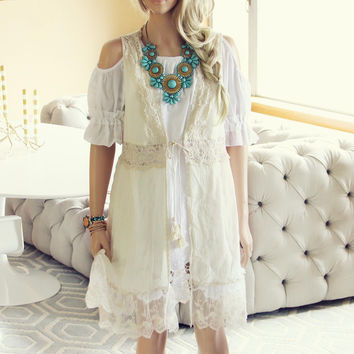 Marrakesh Lace Duster in Cream