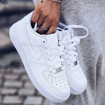 NIKE Women Men Running Sport Casual Shoes Sneakers Low top Air force White