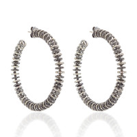Large Black & Brown Diamond Disk Hoop Earrings | Moda Operandi