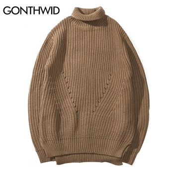 GONTHWID Knitted Turtleneck Sweaters Mens Hip Hop Casual Solid Color Long Sleeve Pullover Sweater Autumn Winter Fashion Sweaters