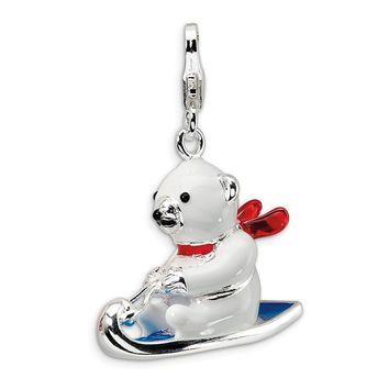 Sterling Silver 3-D Enameled Polar Bear on Sled w/Lobster Clasp Charm