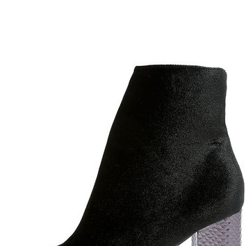 Mae Black Velvet Ankle Booties