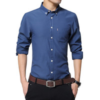 Autumn Spring New Men Casual Shirts Long Sleeve Patchwork Collar Button-Up Slim Fit Solid Color Oxford Men Dress Shirt