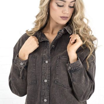 Women's Cropped Button Down Shirt