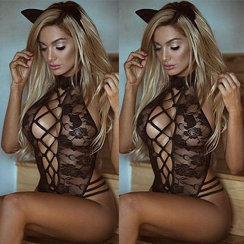 Women Sexy/Sissy Lingerie Lace Babydoll G String Thong Underwear Nightwear Hollow Out Sexy Hot Casual