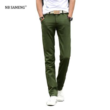 Free Shipping 2017 New Arrival Men Slim Fit Casual Pants Chinos Pantalones Mens Fashion Straight Skinny Trousers 13M0572