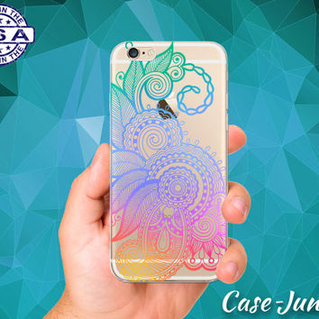 Henna Flower Intricate Design Rainbow Ombre Cute Tumblr Inspired Custom Clear Transparent Rubber Case Cover For iPhone 6 and iPhone 6 Plus +