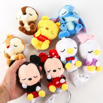 Genuine Disney 12cm Mickey Minnie Mouse Winnie the Pooh Stitch Chip Dale Donald Daisy Duck Plush Toy Dolls Ornament Keychain Gift for Kids