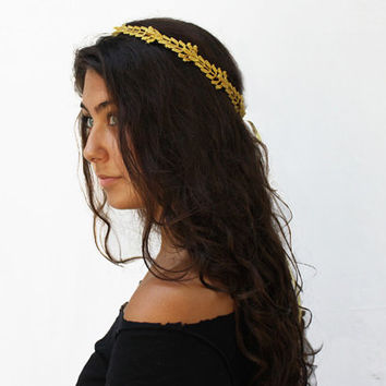 Gold Leaf Headband - Greek Goddess, Holiday Hair, Gold Crown, Greek Headpiece, Gift Idea, Leaf Garland, Gold Leaf Crown, Circlet, Tiara
