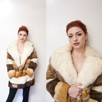 Vintage 1970s Fur Coat - Brown Oversized Rabbit Fur Striped  Jacket - Medium / Small