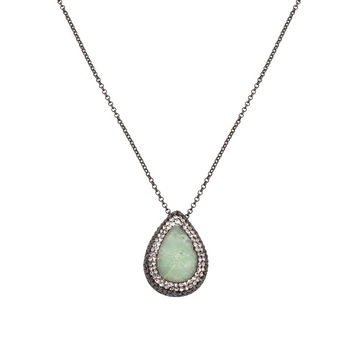 Green Chrysoprase Teardrop Necklace