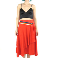 80s Red Jersey Draped Skirt Rainbow Striped Satin Waistband Knee Length Midi Skirt Hipster New Wave Artsy Avant Garde Red Cotton Skirt (S/M)