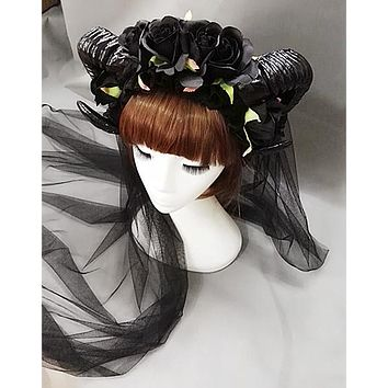 Black Rose Ram Horns Hairpiece
