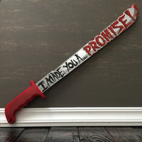 "Walking Dead Rick Grimes Red Handled Machete ""I made you a promise"""