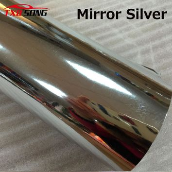 High quality stretchable Silver chrome mirror vinyl film Chrome silver vinyl car sticker by free shipping
