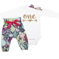 Bright Coral Flower High Waisted Pants Outfit, 1st Birthday Pants Outfit with Knotted Headband  Girls Gold Birthday Outfit