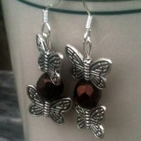 Double Butterfly Charm Earrings With Chocolate Bead by By5Jewelry