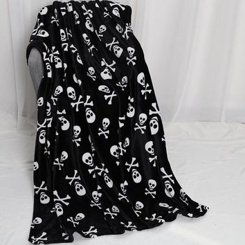 180*130cm soft skull coral fleece blanket plush throw skeleton printed blanket