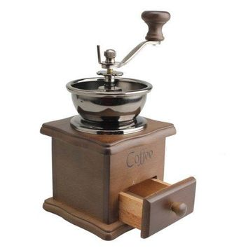 TFBC Mini Wooden Coffee Bean Spice Vintage Style hand grinder