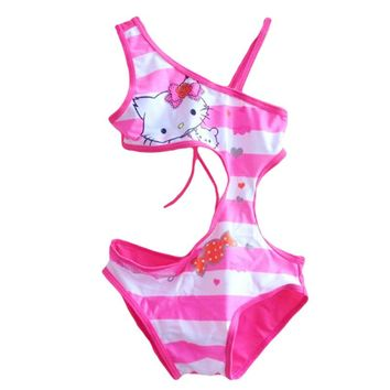 Summer Girls Swimsuit Children Swimwear Kids One Piece Swimming Suit Hello Kitty Beach Wear