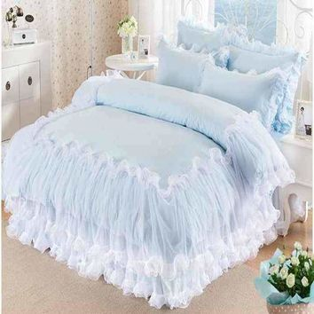 Solid Color Lace Bedding Set King Queen Size 100% Cotton 4pcs Princess Bedspread Bed Set Girls Quilt Cover Bed Sheet Pillowcases