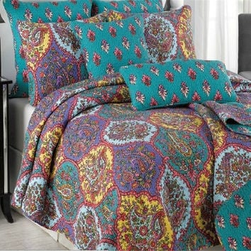 Tache 3 Piece Purple Floral Paisley Galore Reversible Bedspread Set (HS1702)
